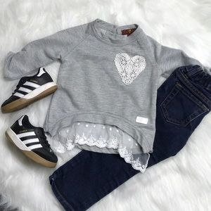 7 For All Mankind Gray Shirt With Lace Detail